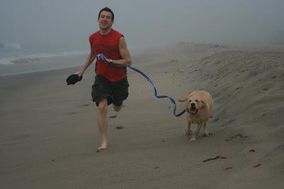 Charlie & Cooper running up the beach
