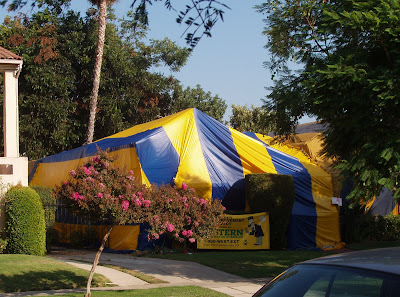 Tented house for bug extermination