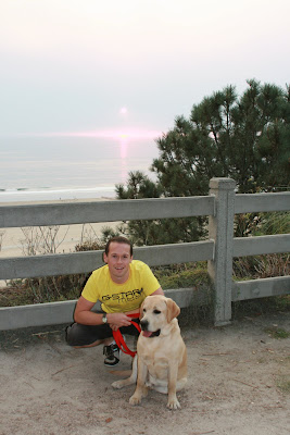Jason & Cooper enjoy the Santa Monica sunset