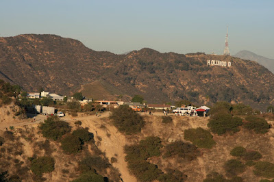 Filming of Funny People movie at Runyon Canyon