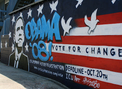 Obama 08 change mural in Venice Beach