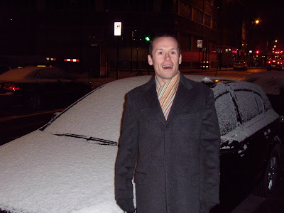 Jason in snowy Shoreditch