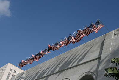 American flags flying at Downtown LA City Hall