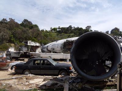 War of the Worlds plane crash movie set