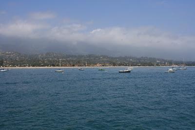 Boats along Santa Barbara coastline