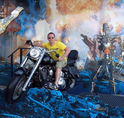 Jason on the Terminator 2 bike at Universal Studios Hollywood