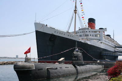 Queen Mary ocean liner and Russian submarine