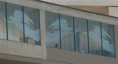 Cathedral of our Lady of Angels Downtown LA etched glass windows