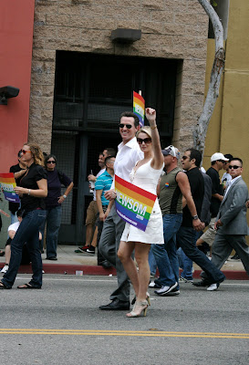 San Francisco's Mayor Gavin Newsom and girlfriend Jennifer Siebel at West Hollywood Gay Pride Parade 2009