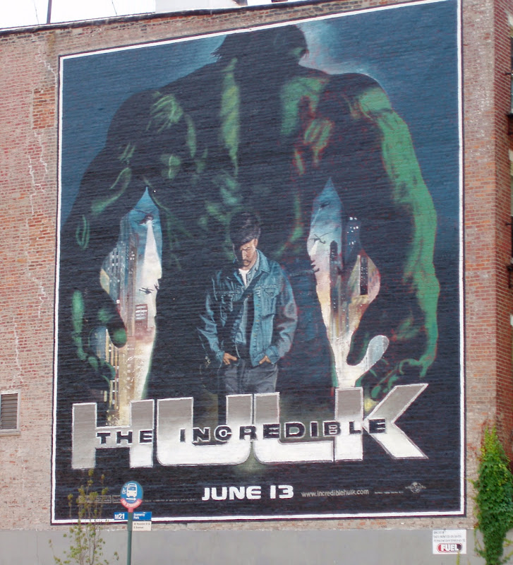 The Incredible Hulk movie wall mural in New York