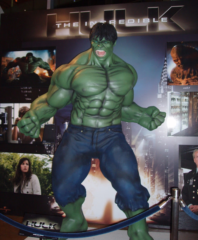 The Incredible Hulk movie replica in ArcLight Hollywood cinema foyer