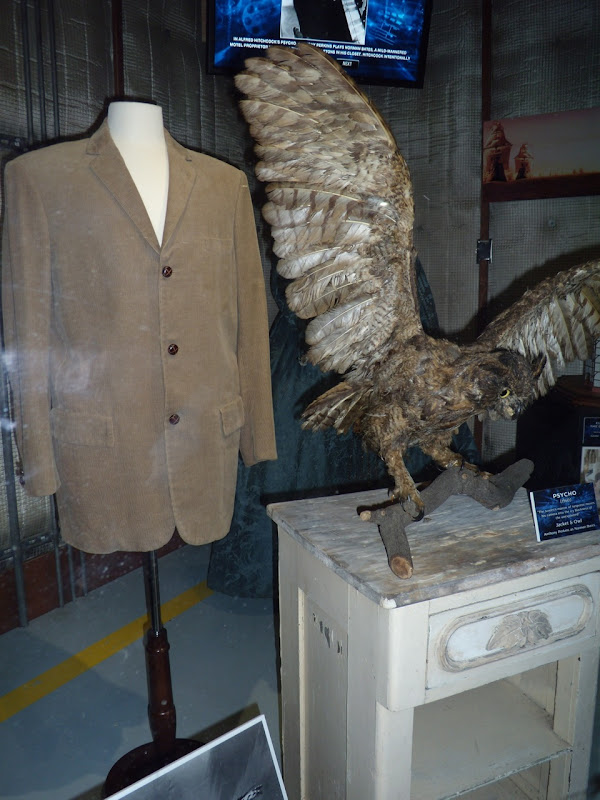 Psycho stuffed owl prop and Norman Bates jacket costume