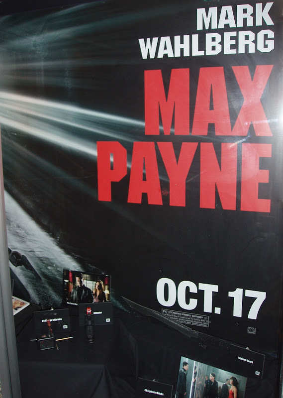 Max Payne film props on display at the Cinerama Dome