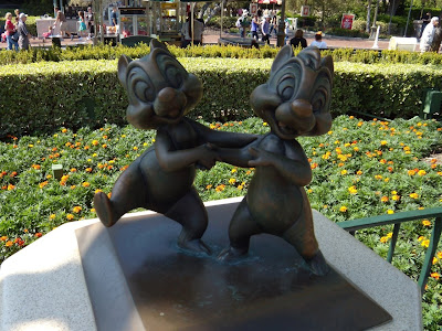 Chip and Dale sculpture at Disneyland