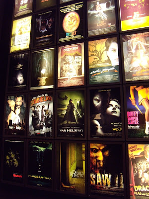 Horror themed film poster display