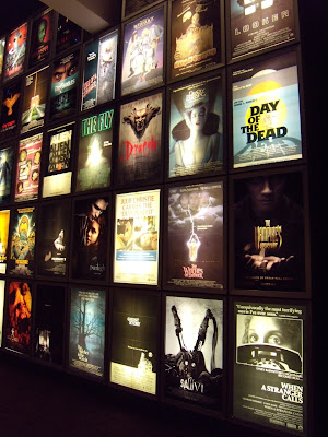 Wall of horror film posters