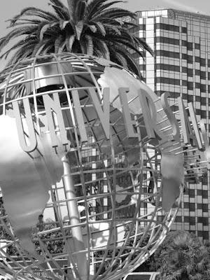Universal Studios Hollywood globe in mono