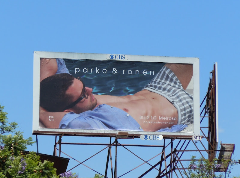 Male model swimwear billboard
