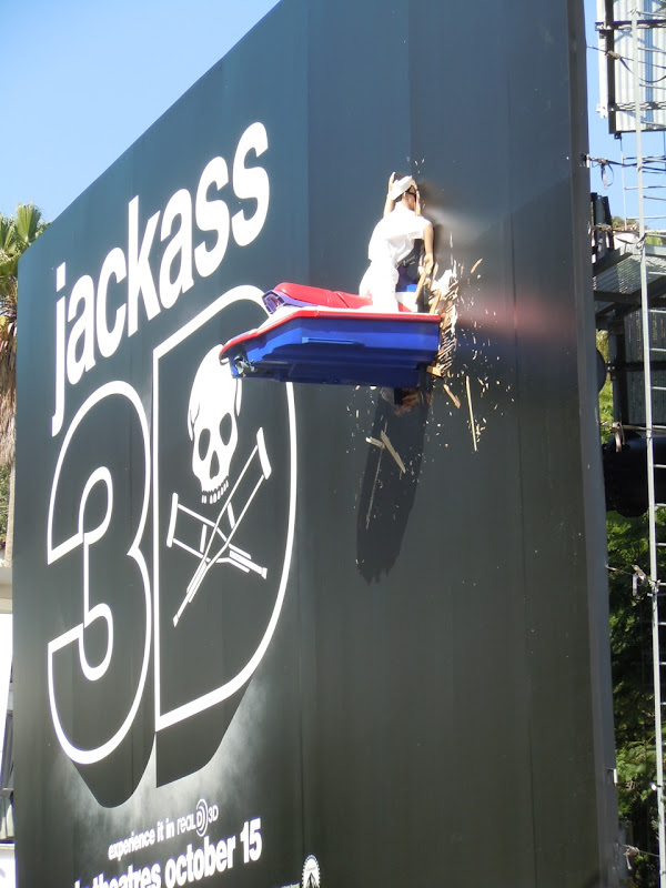 Jackass 3D crashed jet ski Sunset Strip billboard