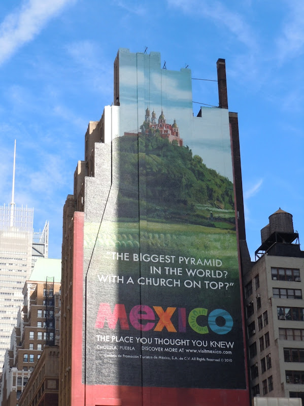 Mexico church on pyramid billboard