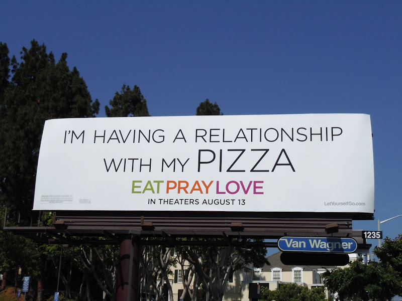 Relationship with pizza billboard