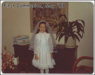 8 years old, in First Communion dress, 1983