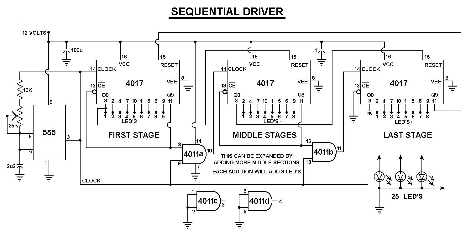 el rincon de los circuitos  25 leds en secuencia