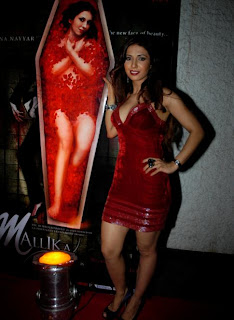 Sheena Nayyar with a poster of her movie Mallika