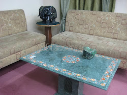 Dining Table In Green Baroda Jade marble Inlay