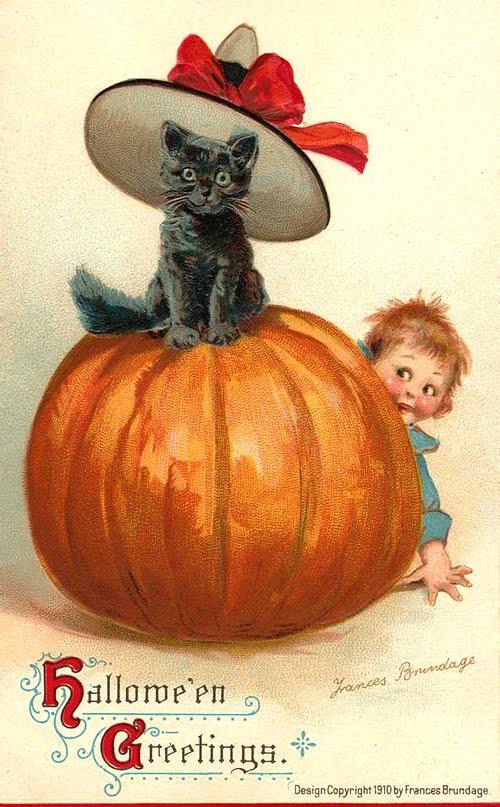 Vintage Halloween Cat With Pumpkin | eBay