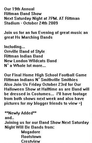 details on our band show next saturday night