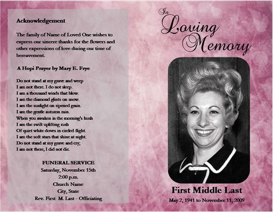 Loved One Passed Free Microsoft Office Funeral Service Or Obituary