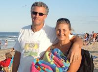 Felicia Rubinstein and her husband on the beach