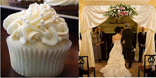 a cupcake and a wedding ceremony under a chuppah