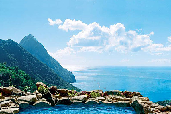water view at Ladera resort in St. Lucia