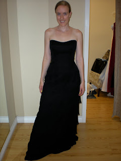 the bride in a black bridesmaid dress that she rejected as a bridal gown