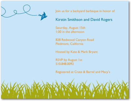 Backyard barbecue wedding shower invitation