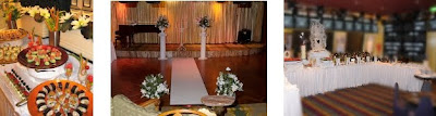 from left, canapes, room set up for a ceremony, reception room set up
