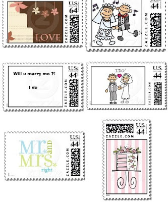 pictures of six wedding-related postage stamps