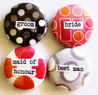 four multi-colored pins, each with a word: groom, bride, maid of honour and best man