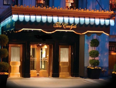 night-time photo of entrance to Carlyle hotel