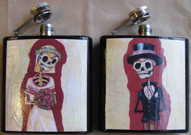 side-by-side flasks, one with a skeletan dressed as a bride, and the other with a skeletan dressed as a groom