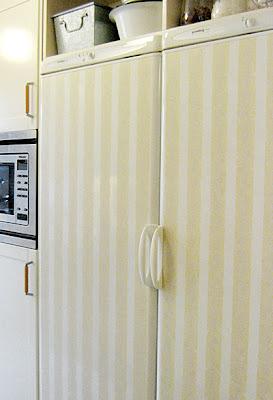 fridge and freezer with stripes