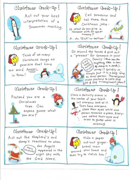 click here to print out christmas cares - Childrens Christmas Jokes