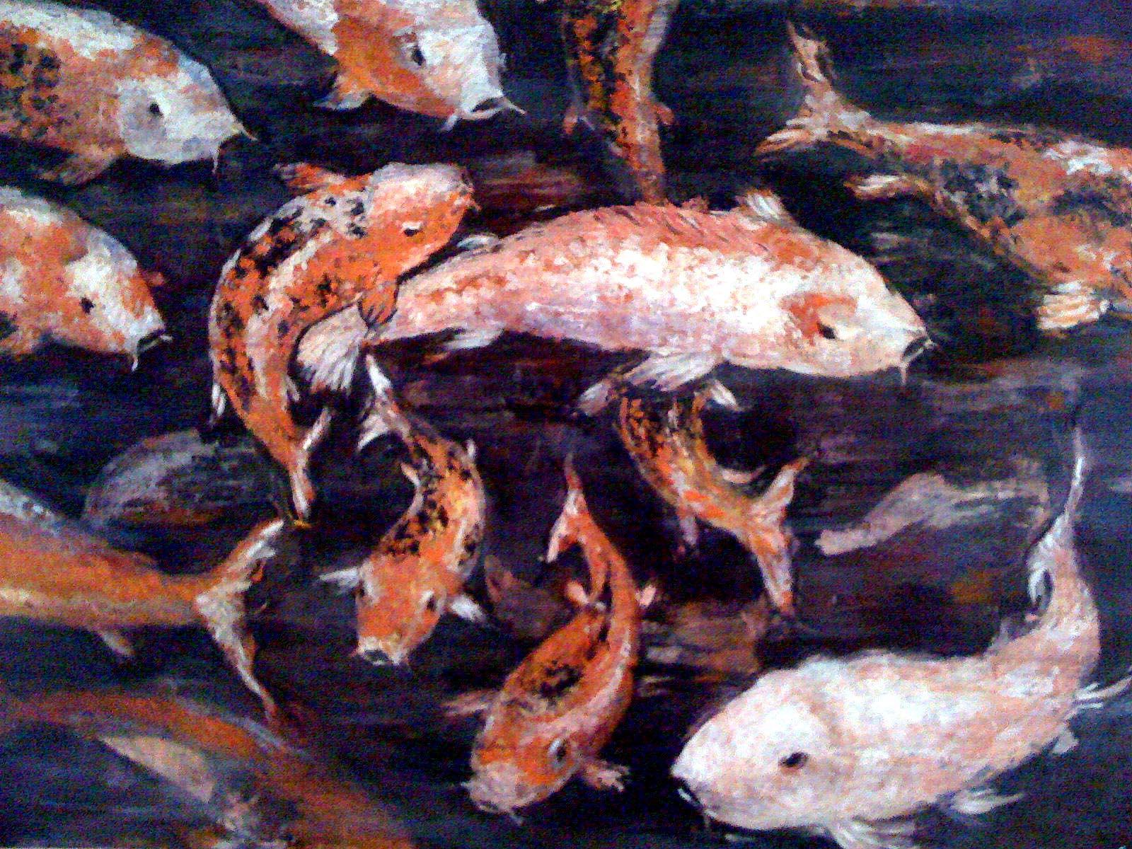 Koi fish oil on canvas nick petronzio sculpture for Ph for koi fish