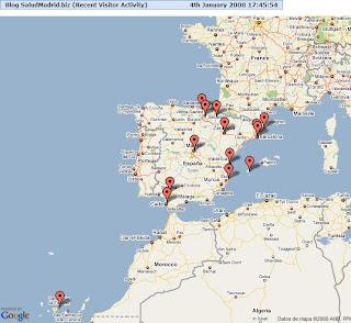 Mapa de las referencias geográficas que agrupan los accesos de España. Hacer clic para aumentar.