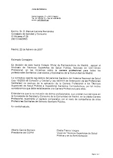 Carta (22/02/07) del Presidente del COFM al Consejero de Sanidad y Consumo apoyando la Carrera Profesional para la Inspección Sanitaria. Clic para aumentar la imagen.