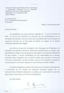 Nueva Carta de la Presidenta de la Comunidad de Madrid, de 16 de abril de 2007