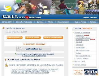 Imagen de la página principal del sitio web www.csit.es, de apoyo a la ISaM