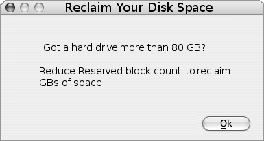 Reclaim linux disk space by reducing reserved blocks
